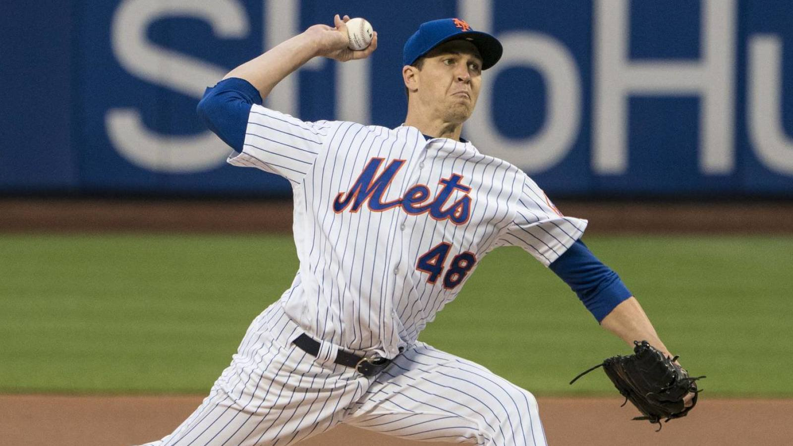 May 18, 2018; New York City, NY, USA; New York Mets pitcher Jacob DeGrom (48) delivers a pitch during the first inning of the game at Citi Field. Mandatory Credit: Gregory J. Fisher-USA TODAY Sports